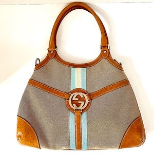 Gucci Beige/Brown Canvas Vintage Web Reins Hobo